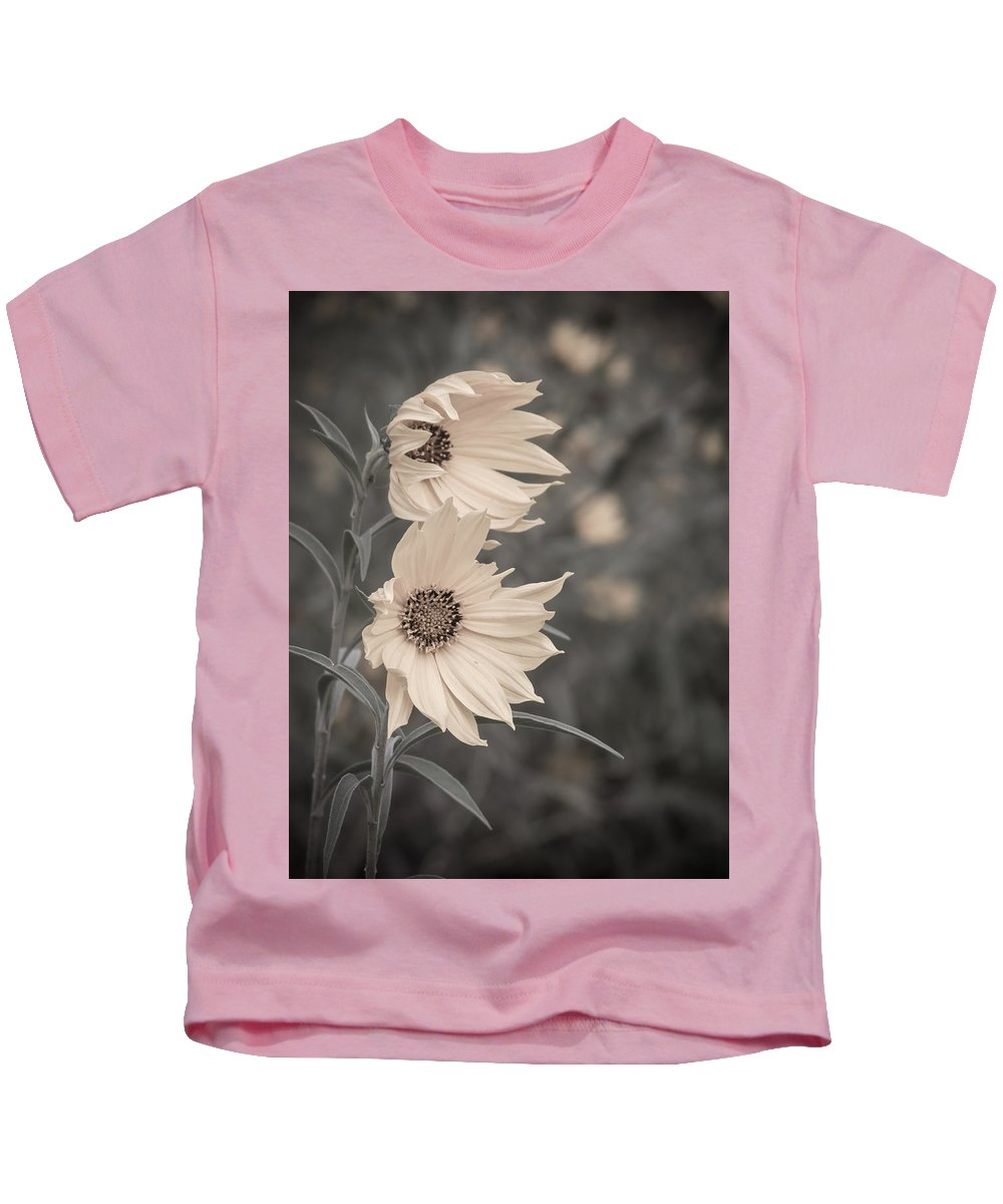 Sunflower Kids T-Shirt featuring the photograph Windblown Wild Sunflowers by Patti Deters