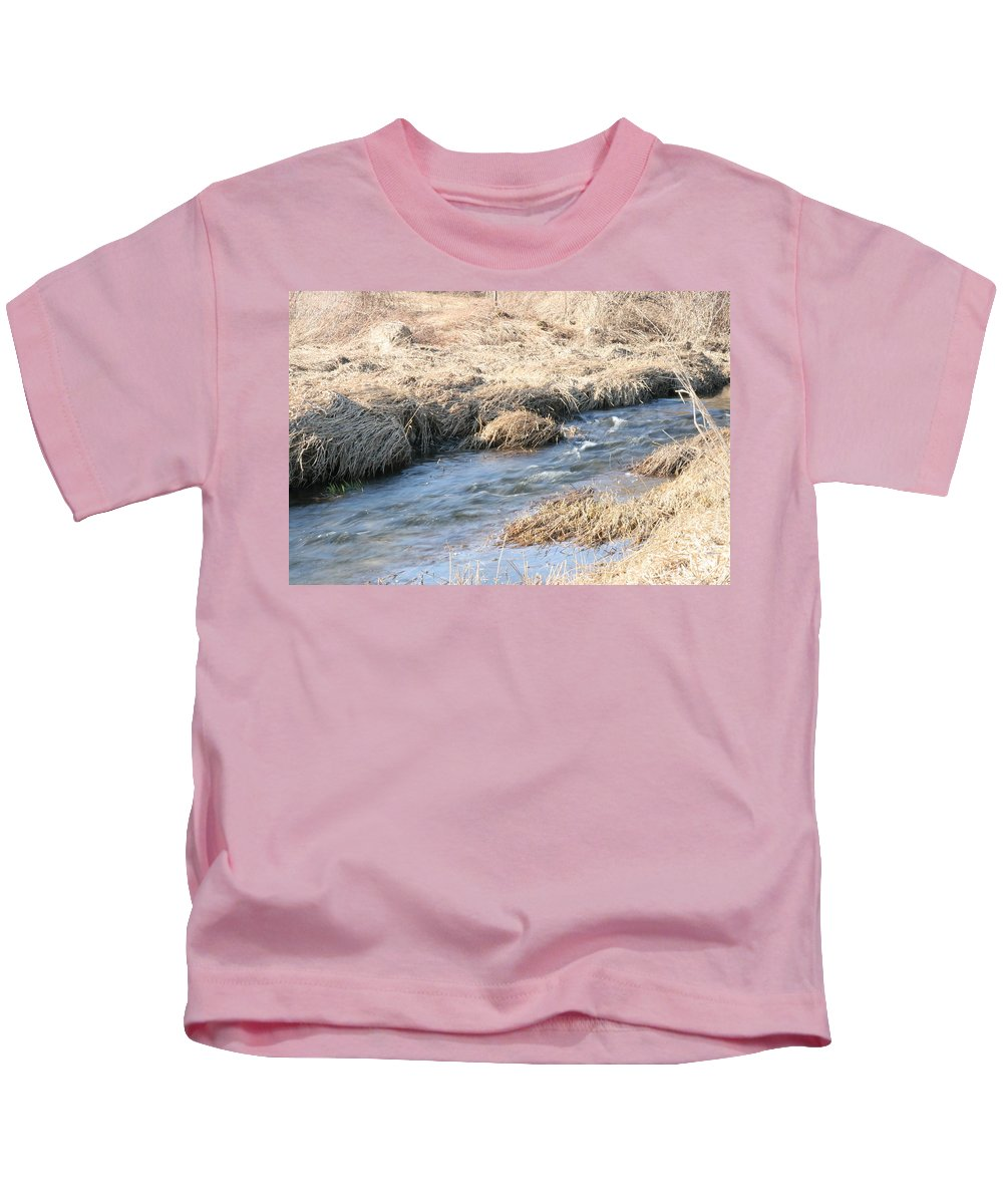 Flowing Water Kids T-Shirt featuring the photograph Winter Creek Flow by Neal Eslinger