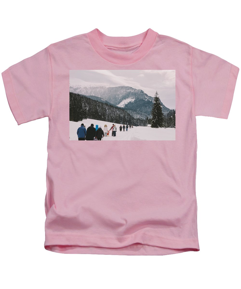 Winter Kids T-Shirt featuring the photograph Winter Hike by Pati Photography