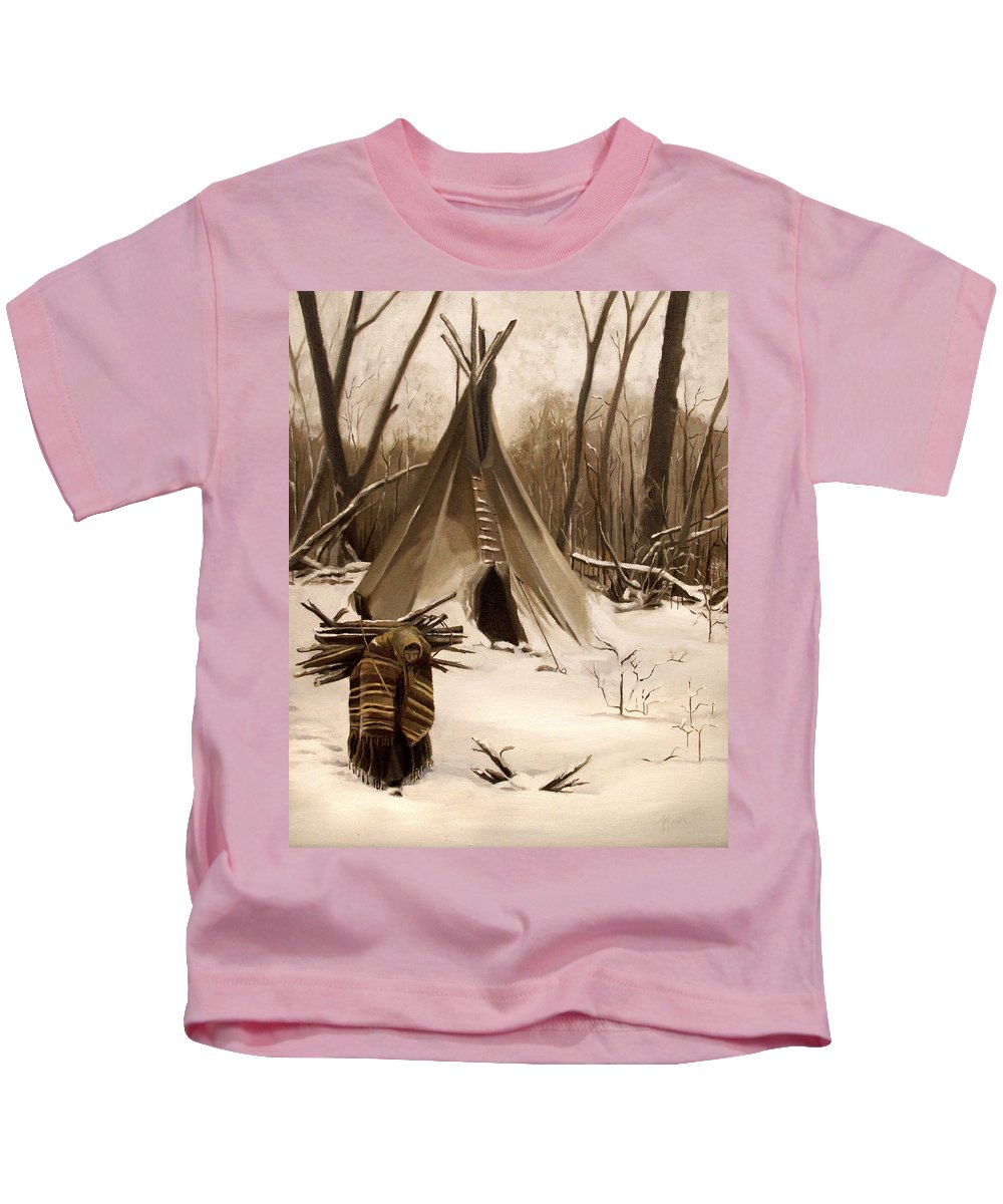 Native American Kids T-Shirt featuring the painting Wood Gatherer by Nancy Griswold