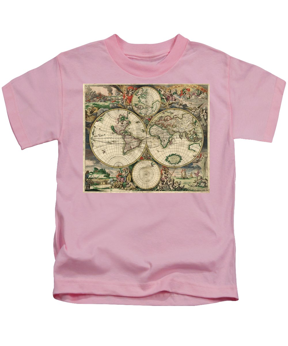 World Map Kids T-Shirt featuring the photograph World Map 1689 by Mountain Dreams