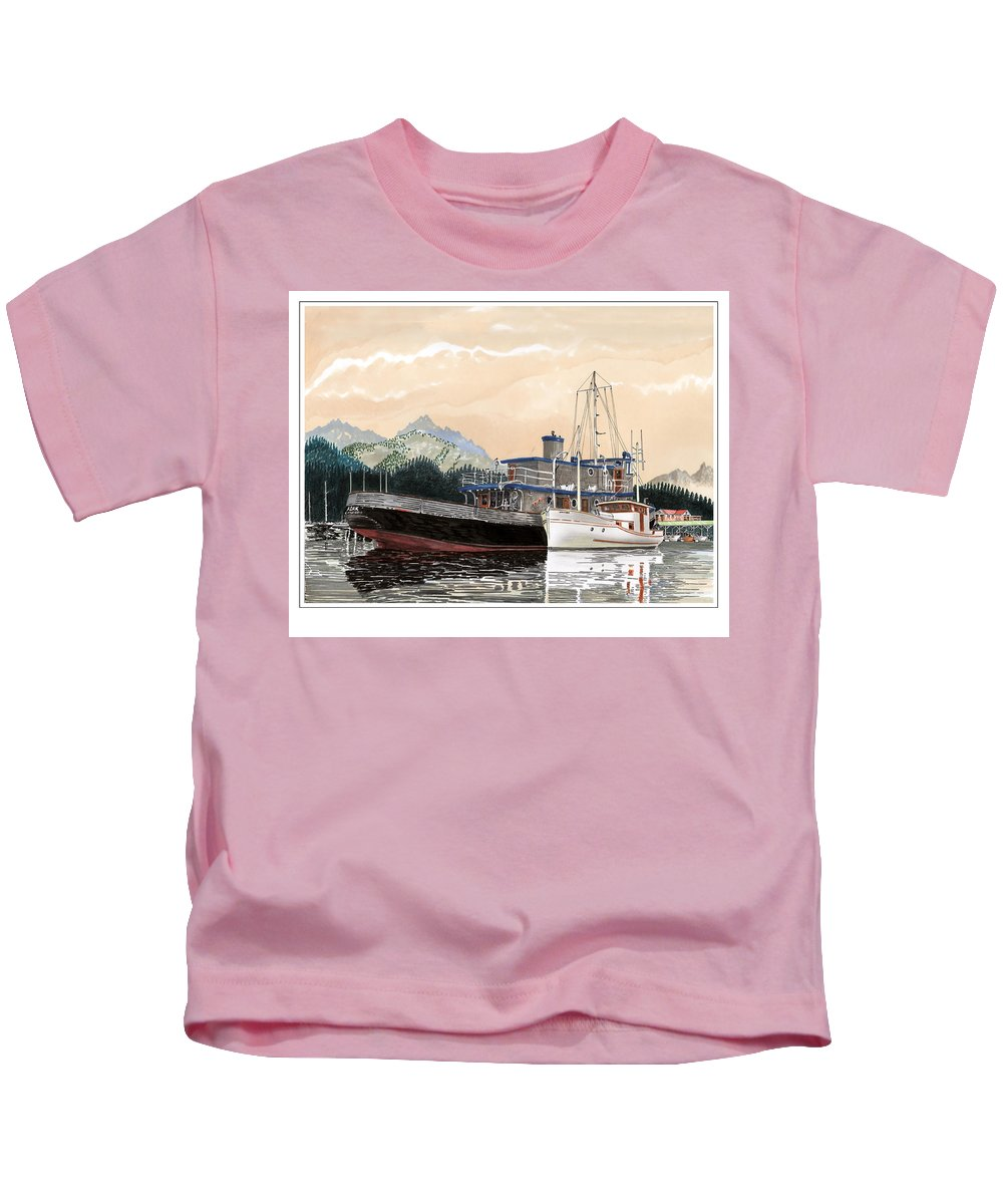 Yacht Portraits Kids T-Shirt featuring the painting Alaskan Sunrise by Jack Pumphrey