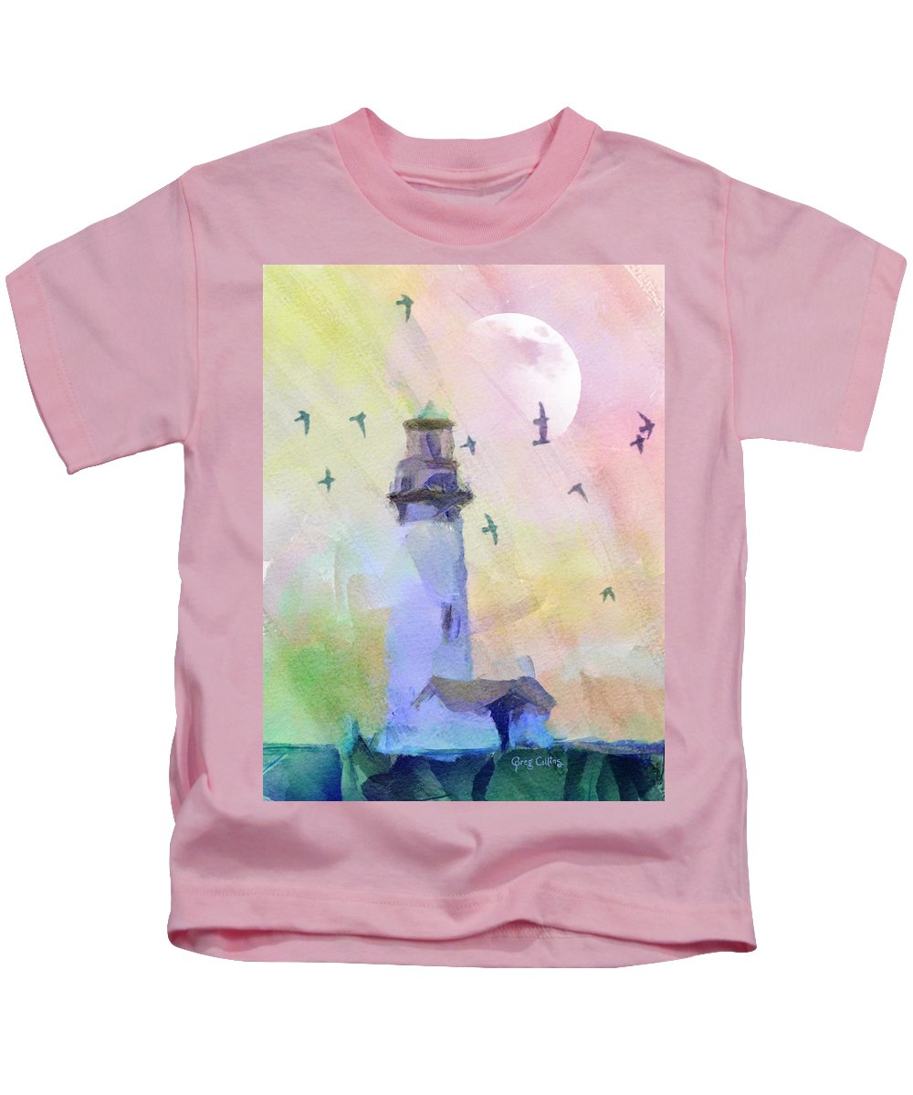 Lighthouse Kids T-Shirt featuring the painting Yaquina Lighthouse by Greg Collins