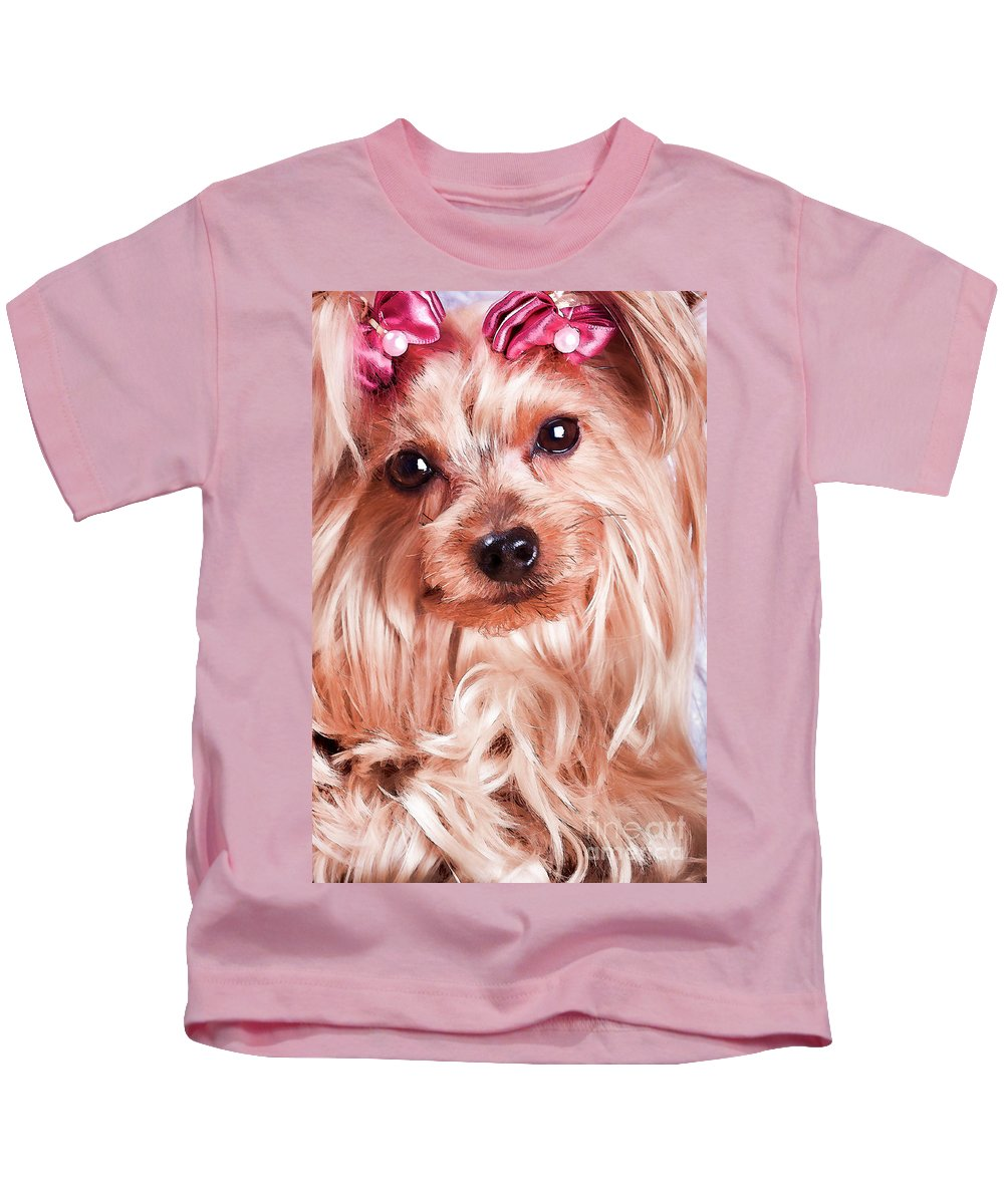 Yorkshire Terrier Kids T-Shirt featuring the photograph Yorkie by Carolina Mendez