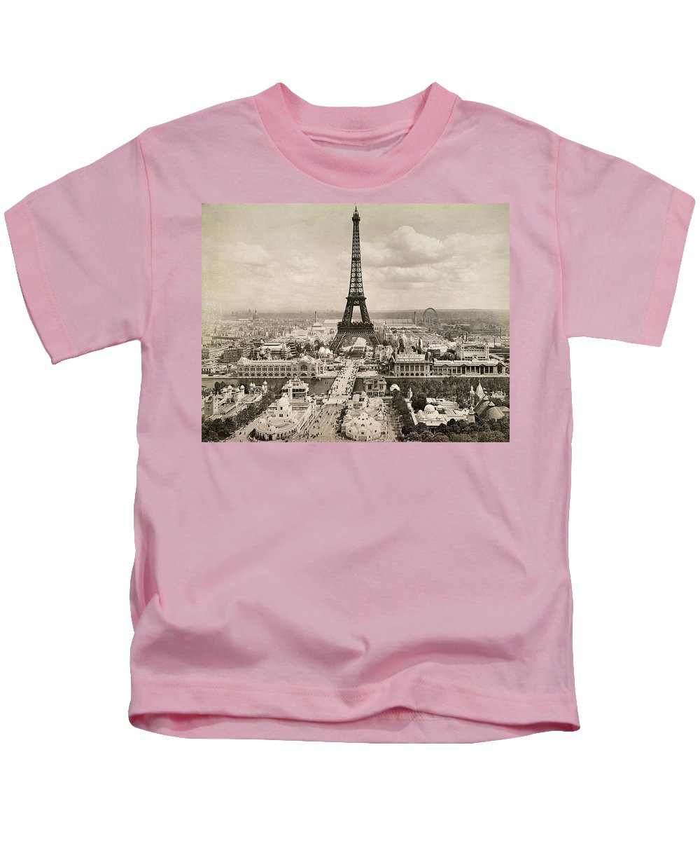 1900 Kids T-Shirt featuring the photograph Paris: Eiffel Tower, 1900 by Granger