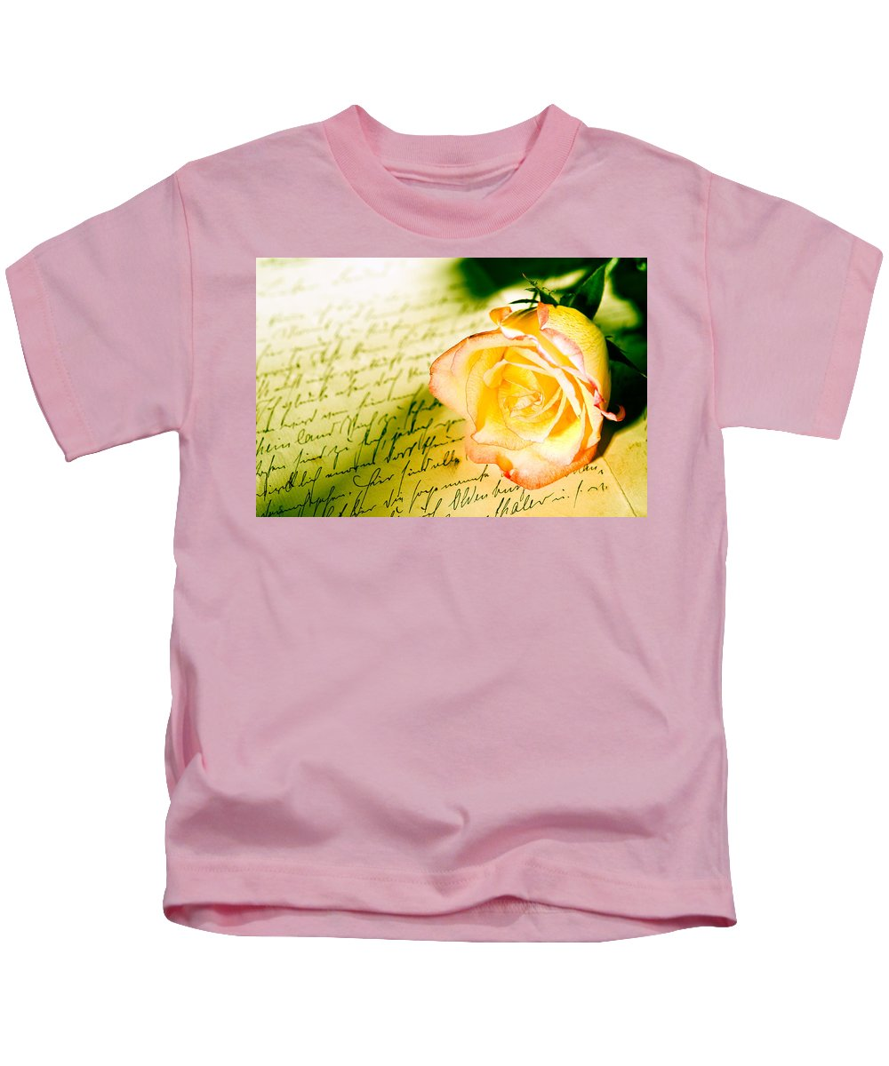 Alliance Kids T-Shirt featuring the photograph Red Yellow Rose Over A Hand Written Letter by U Schade