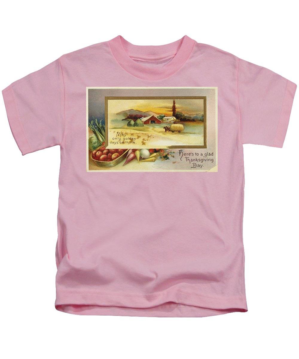 1910 Kids T-Shirt featuring the photograph Thanksgiving Card, C1910 by Granger
