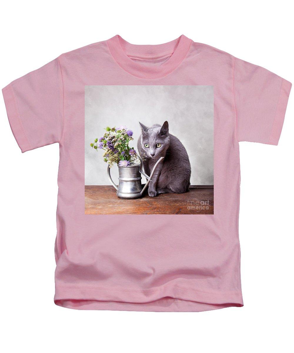 Cat Kids T-Shirt featuring the photograph Russian Blue by Nailia Schwarz