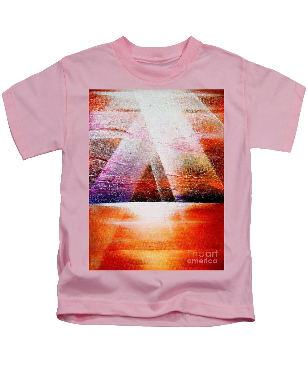 Sunrise.ocean.light.sunshine.landscape.healing.sea..brilliant.maiestic Kids T-Shirt featuring the painting Hope by Kumiko Mayer