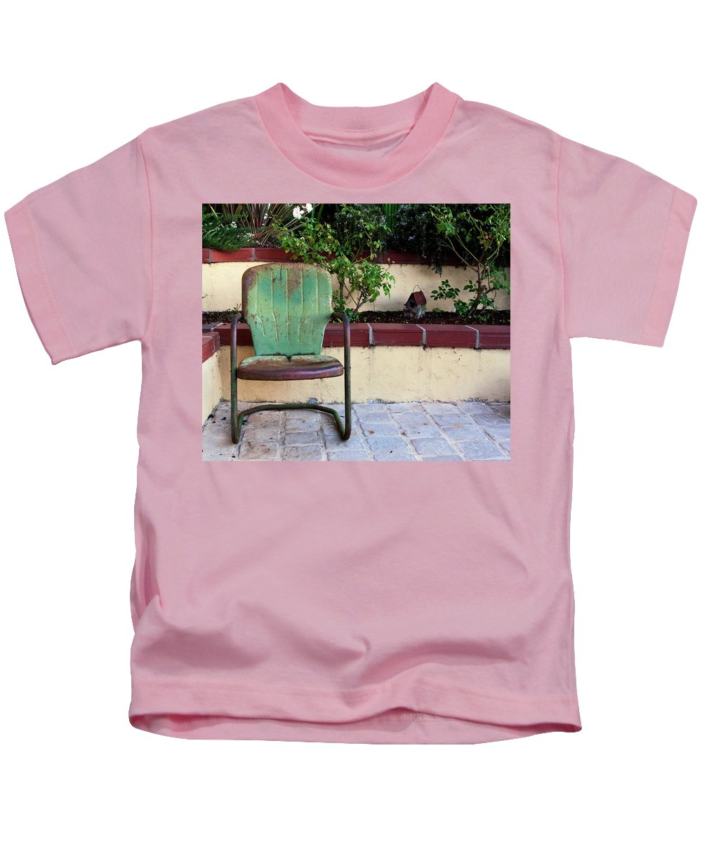 Green Chair Kids T-Shirt featuring the photograph A Green Chair by Lorraine Devon Wilke