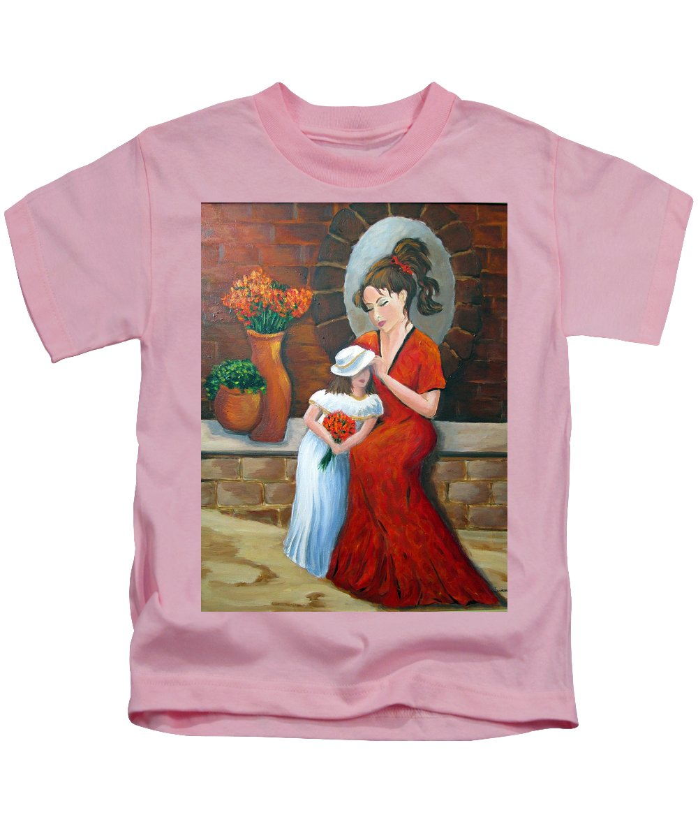 Mother Kids T-Shirt featuring the painting A Mothers Love by Rosie Sherman