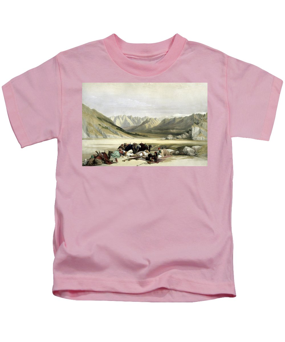 Mount Sinai Kids T-Shirt featuring the photograph Approach To Mount Sinai Wady Barah Feby 17th 1839 by Munir Alawi