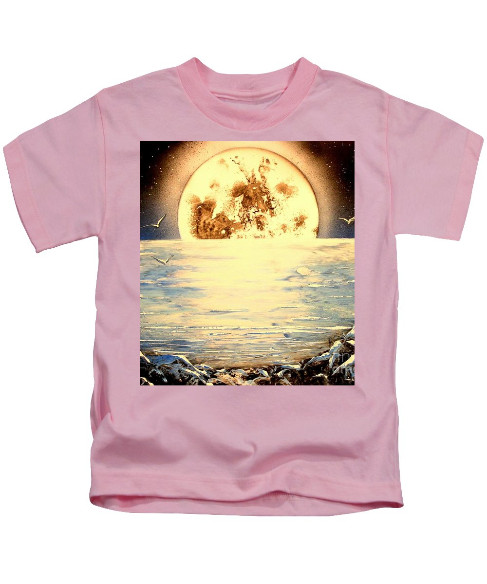 Moon Kids T-Shirt featuring the painting Bad Moon Rising by Greg Moores