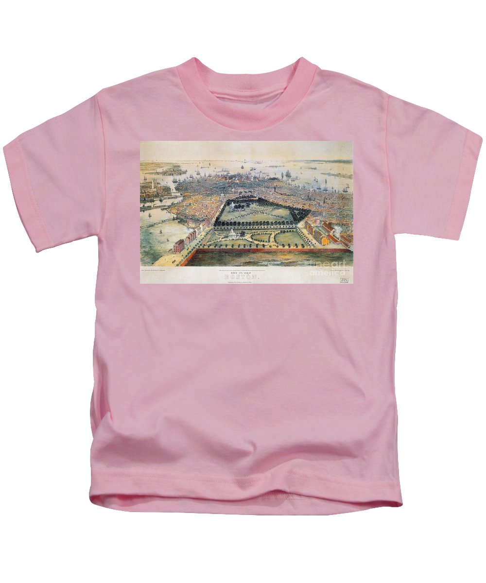1850 Kids T-Shirt featuring the photograph Boston, 1850 by Granger