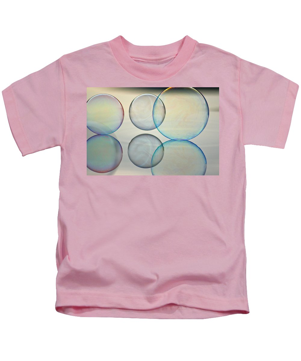 Bubble Kids T-Shirt featuring the photograph Bubbles On The Water by Cathie Douglas