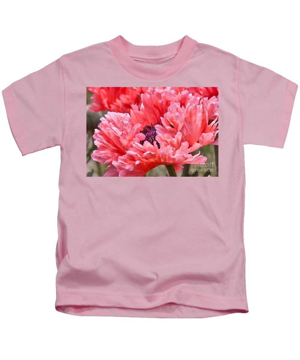 Coral Poppy Kids T-Shirt featuring the photograph Coral Poppy by Jill Smith