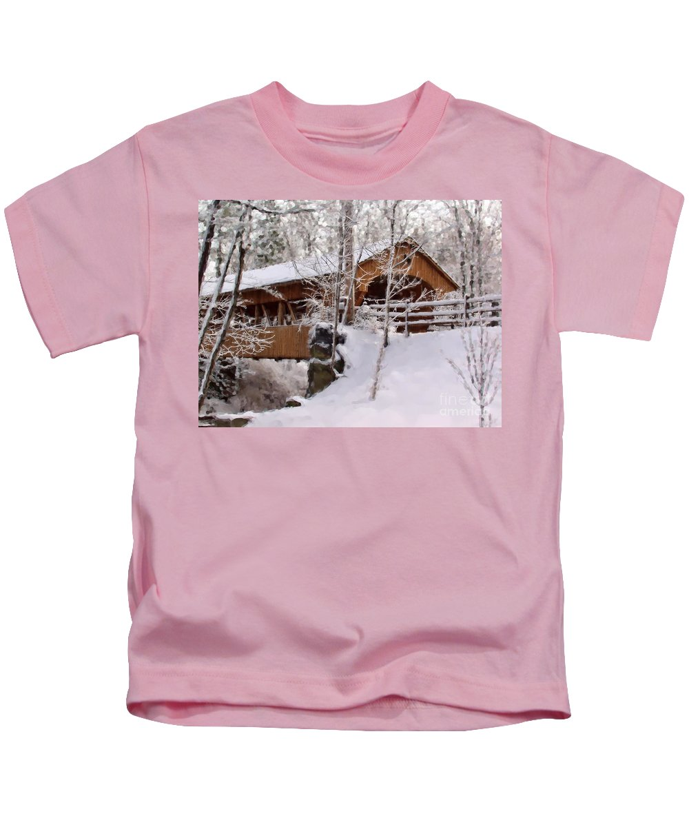 Covered Bridge Kids T-Shirt featuring the photograph Covered Bridge At Olmsted Falls - 2 by Mark Madere