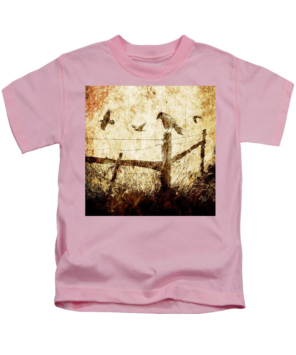 Art Kids T-Shirt featuring the photograph Crows And The Corner Fence by Randall Nyhof