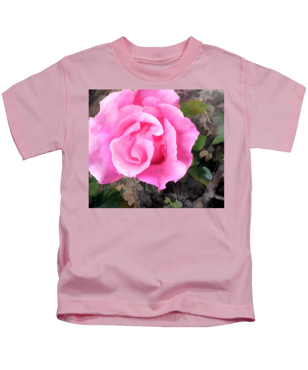 Roses Kids T-Shirt featuring the painting Deep Pink Watercolor Rose Blossom by Elaine Plesser