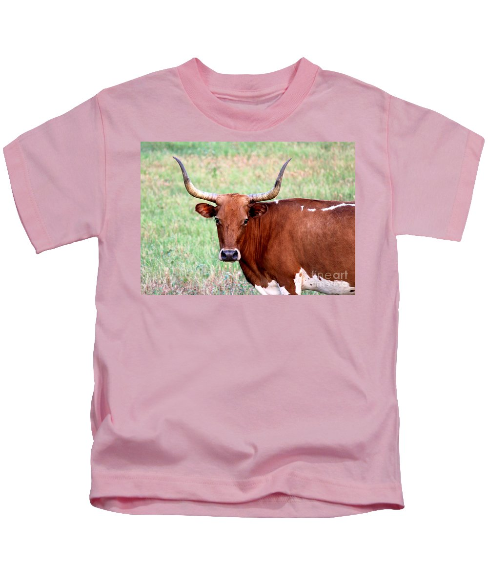 Texas Longhorn Kids T-Shirt featuring the photograph Do Not Mess With Me by Kathy White