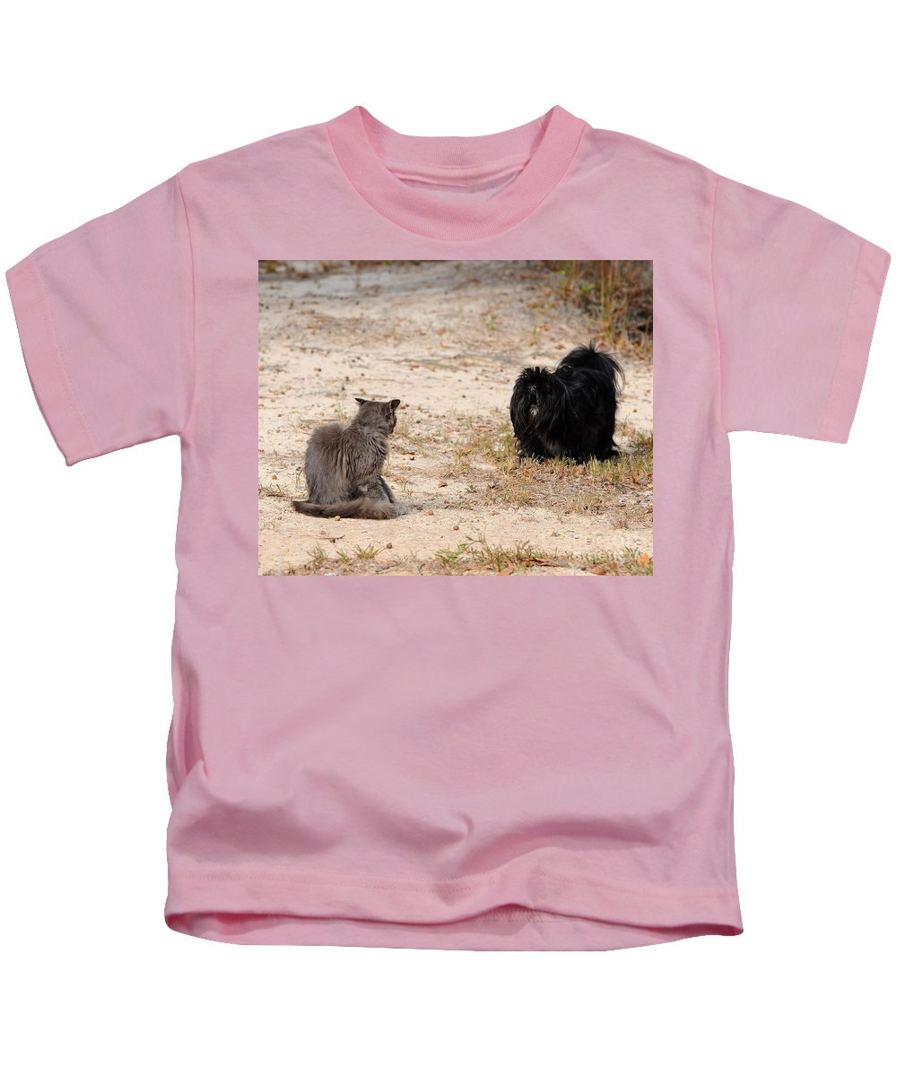 Pet Kids T-Shirt featuring the photograph First Impressions by Al Powell Photography USA