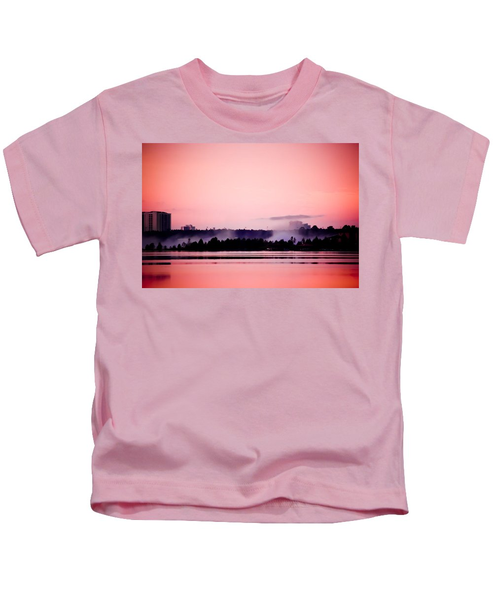 Orlando Kids T-Shirt featuring the photograph Foggy Pink Morning by Trish Tritz