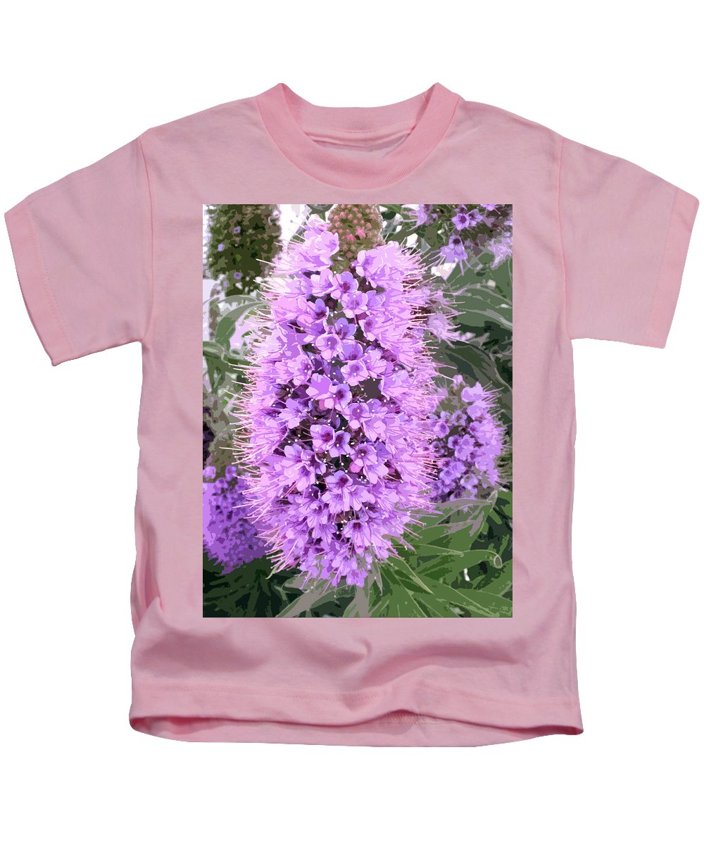 Flower Kids T-Shirt featuring the painting Fuzzy Purple Flower Spike by Elaine Plesser