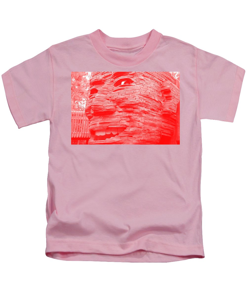 Architecture Kids T-Shirt featuring the photograph Gentle Giant In Negative Red by Rob Hans