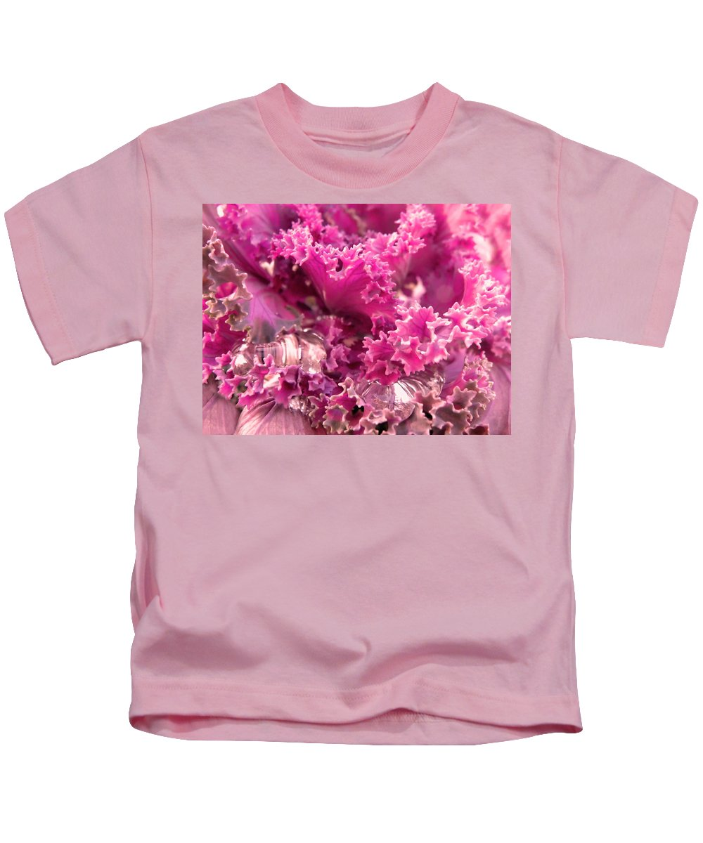 Kale Plant Kids T-Shirt featuring the photograph Kale Plant With Melting Snow by Sandi OReilly
