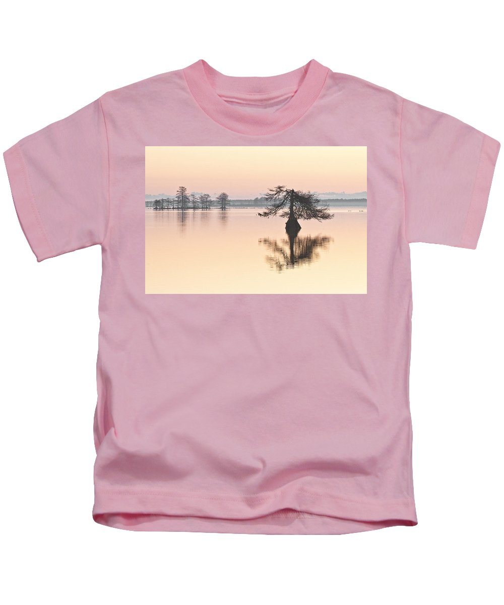 Lake Mattamuskeet Kids T-Shirt featuring the photograph Lake Mattamuskeeet Sunrise by Bill Swindaman