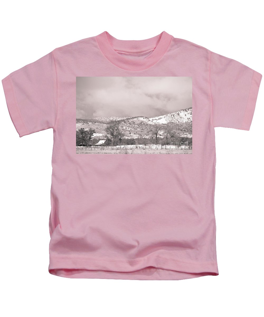 'low Clouds' Kids T-Shirt featuring the photograph Low Clouds On The Colorado Rocky Mountain Foothills 3 Bw by James BO Insogna