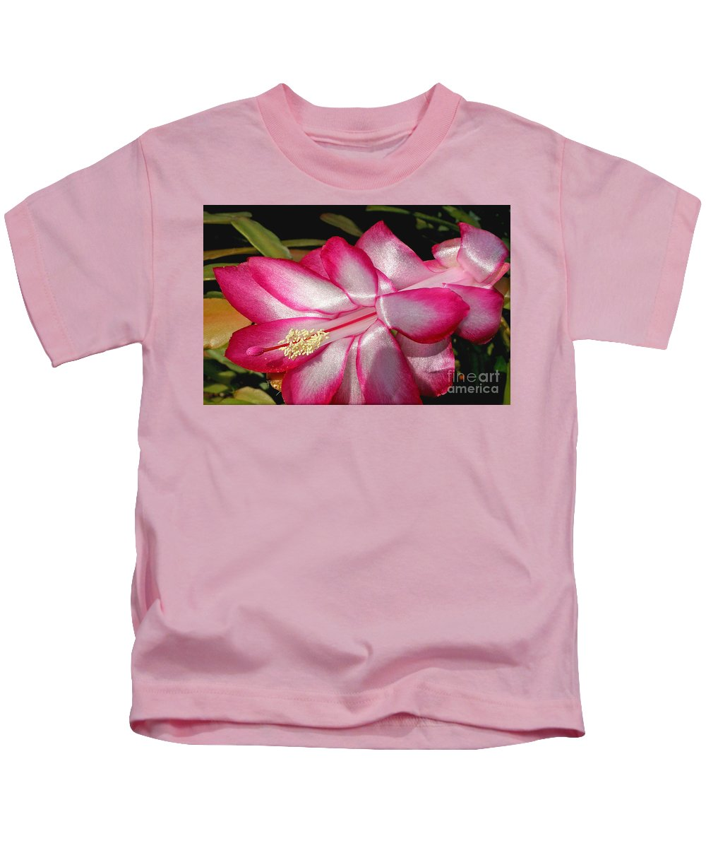 Photography Kids T-Shirt featuring the photograph Luminous Cactus Flower by Kaye Menner
