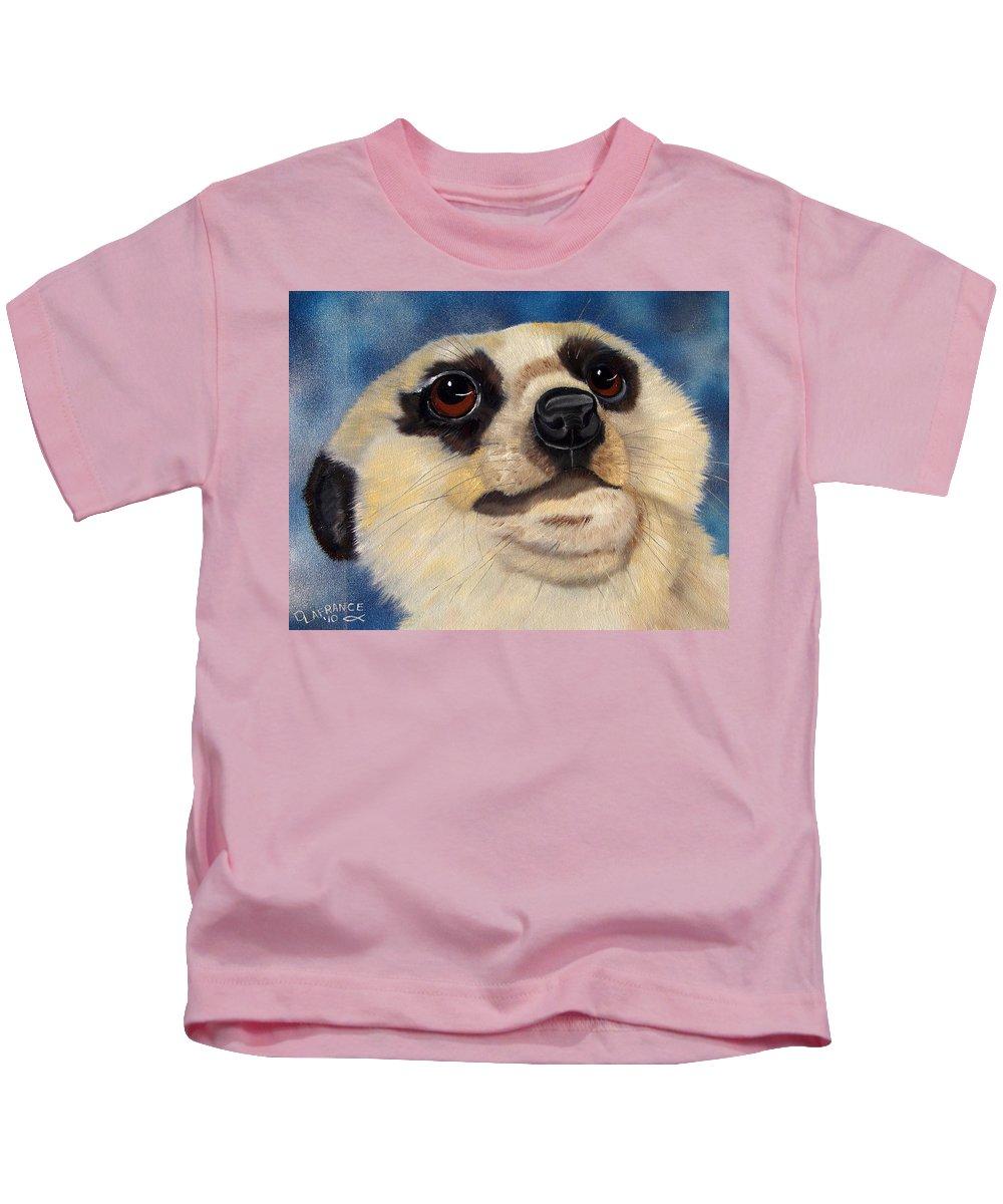 Meerkat Kids T-Shirt featuring the painting Meerkat Eyes by Debbie LaFrance
