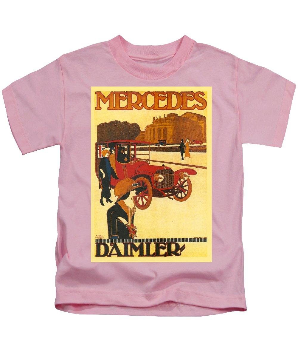 Mercedes Kids T-Shirt featuring the digital art Mercedes Daimler by Georgia Fowler