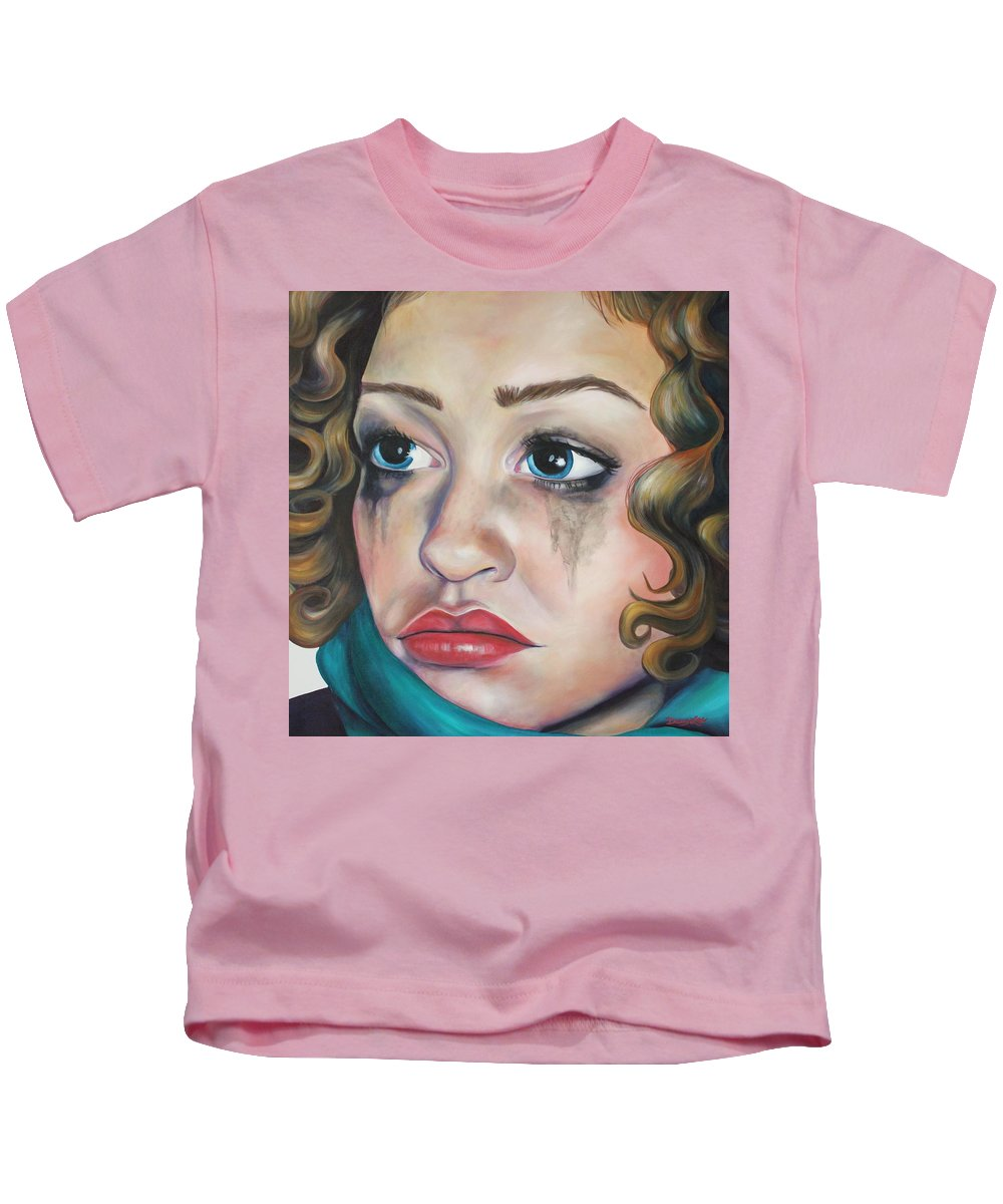 Portrait Kids T-Shirt featuring the painting Mindless by Darcy Lee Saxton