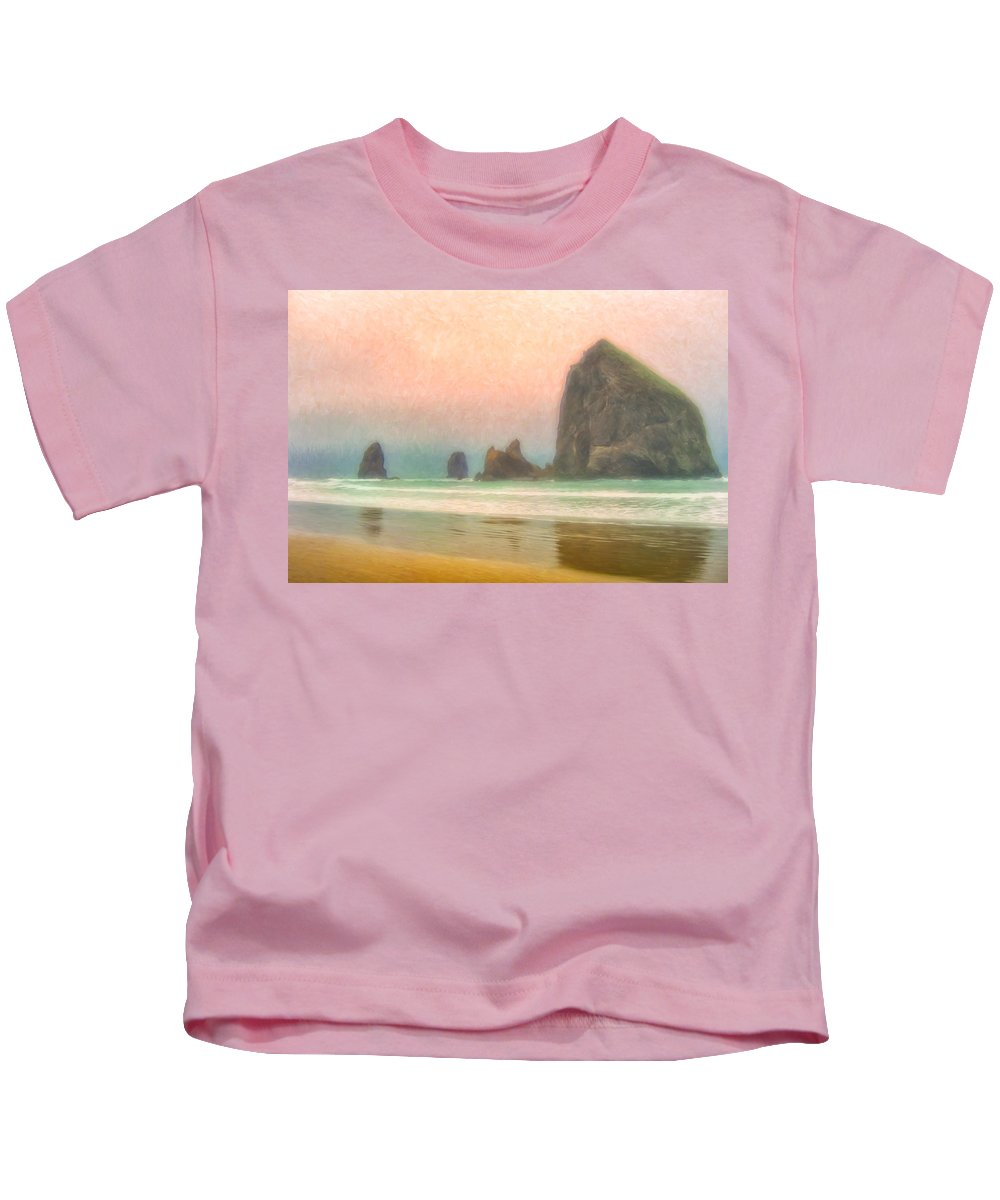 Morning Kids T-Shirt featuring the painting Morning Mist At Haystack Rock by Dominic Piperata