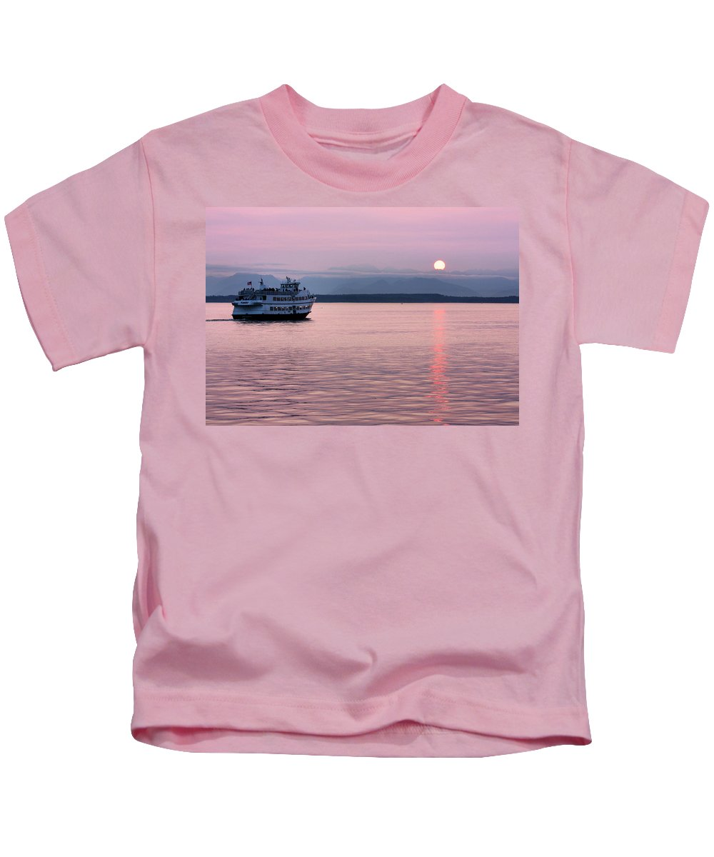 Ship Kids T-Shirt featuring the photograph Off Into The Sunset by Kristin Elmquist