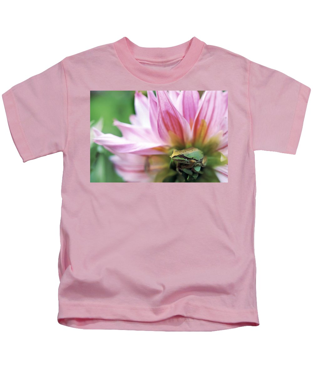 Bright Kids T-Shirt featuring the photograph Pacific Tree Frog In A Dahlia Flower by David Nunuk