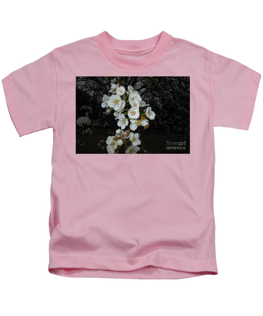 Flower Kids T-Shirt featuring the photograph Pear Blooms And Tree by Donna Brown