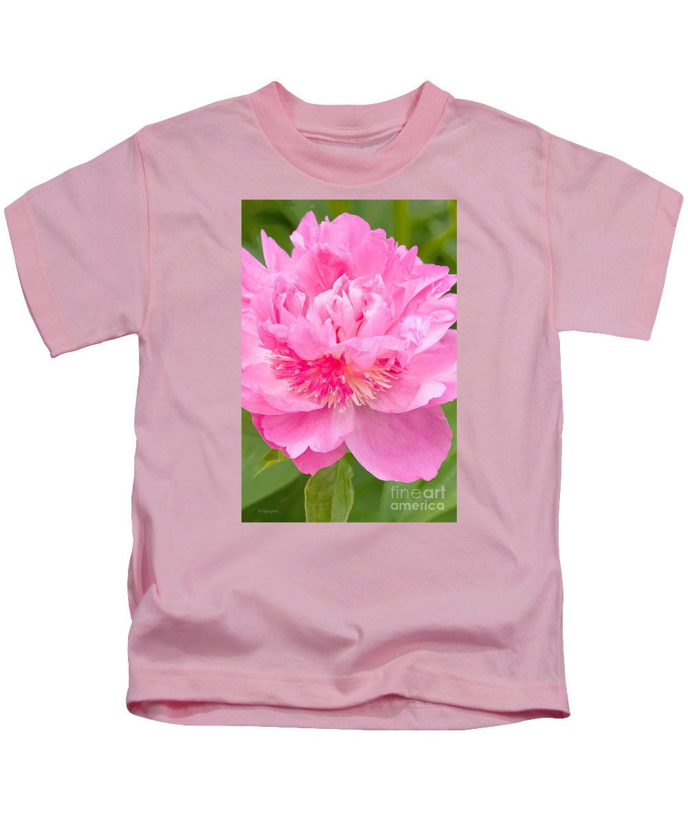 Flowers Kids T-Shirt featuring the photograph Pink Peony by Regina Geoghan
