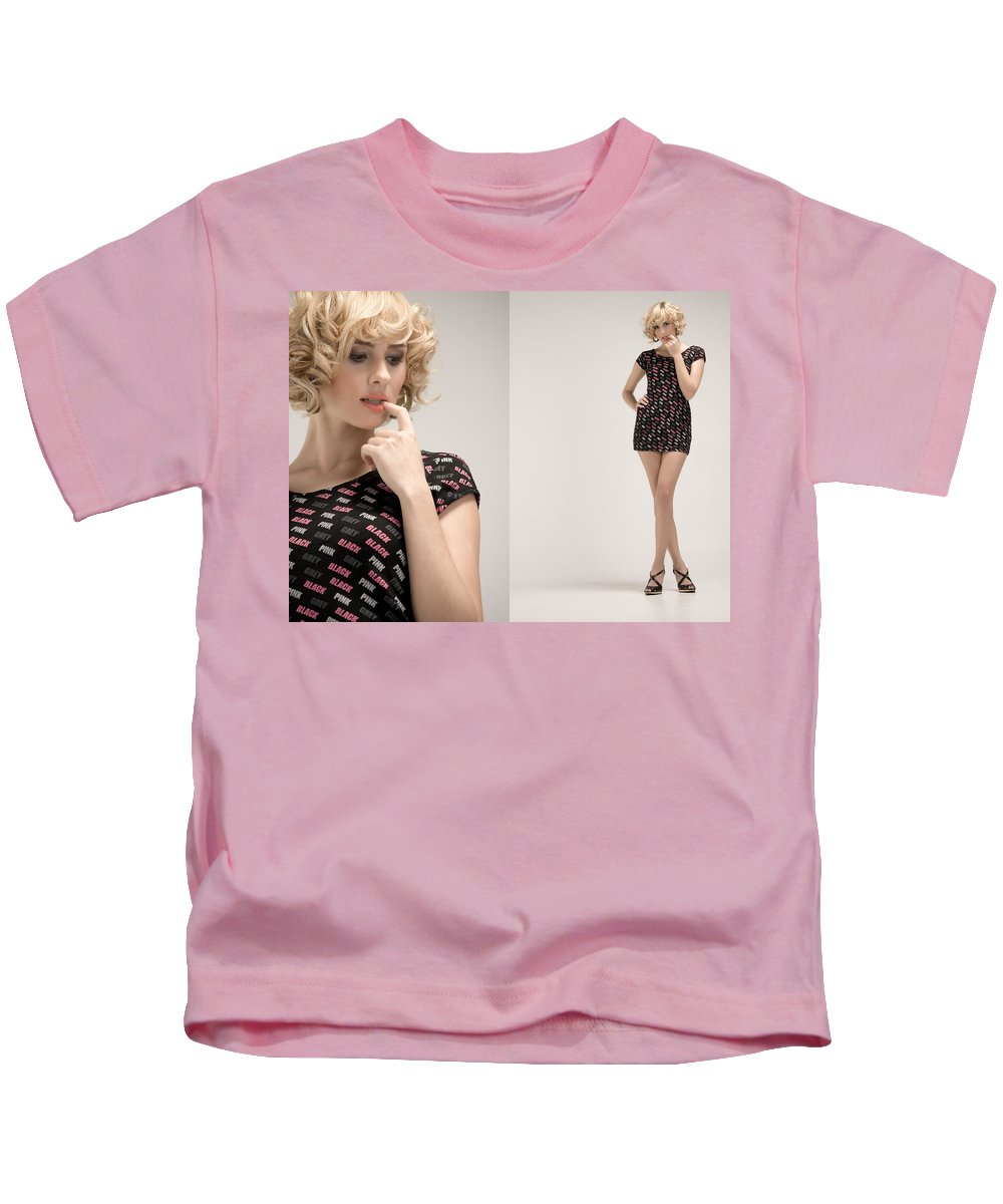 Fashion Kids T-Shirt featuring the photograph Pink White Black by Ralf Kaiser