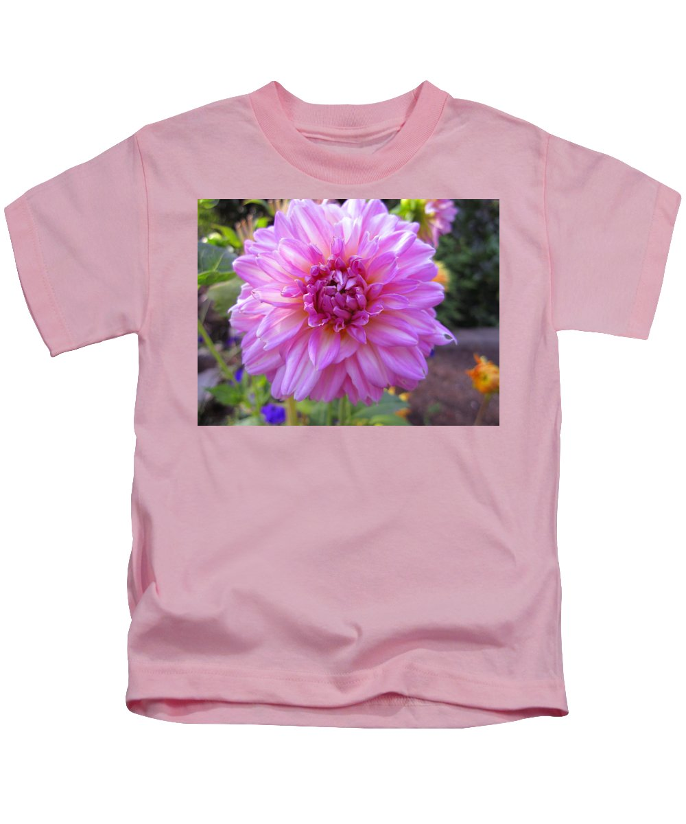 Flowers Kids T-Shirt featuring the photograph Purple Pink Dahlia by Kym Backland