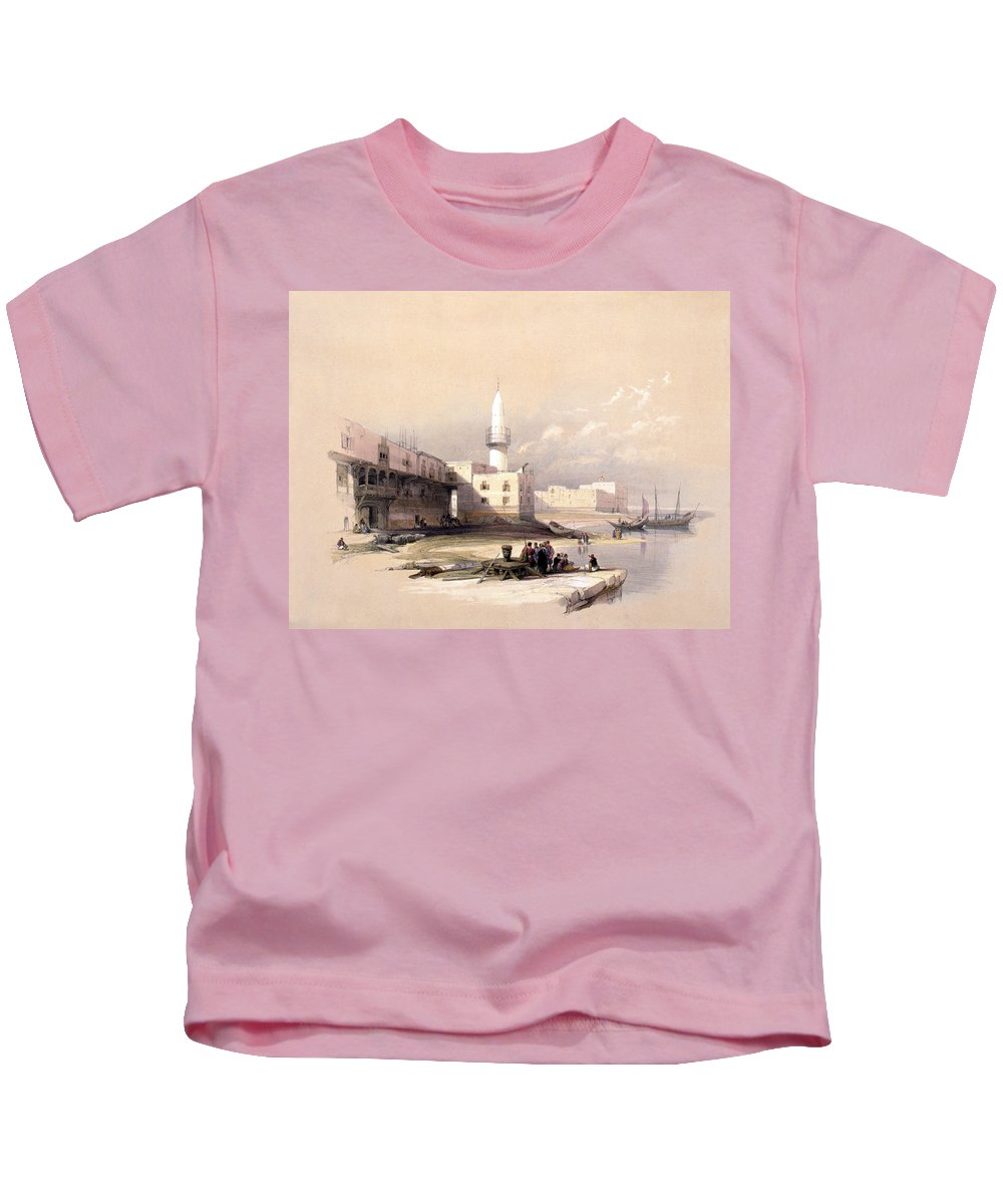 Suez Kids T-Shirt featuring the photograph Quay At Suez Febrary 11th 1839 by Munir Alawi