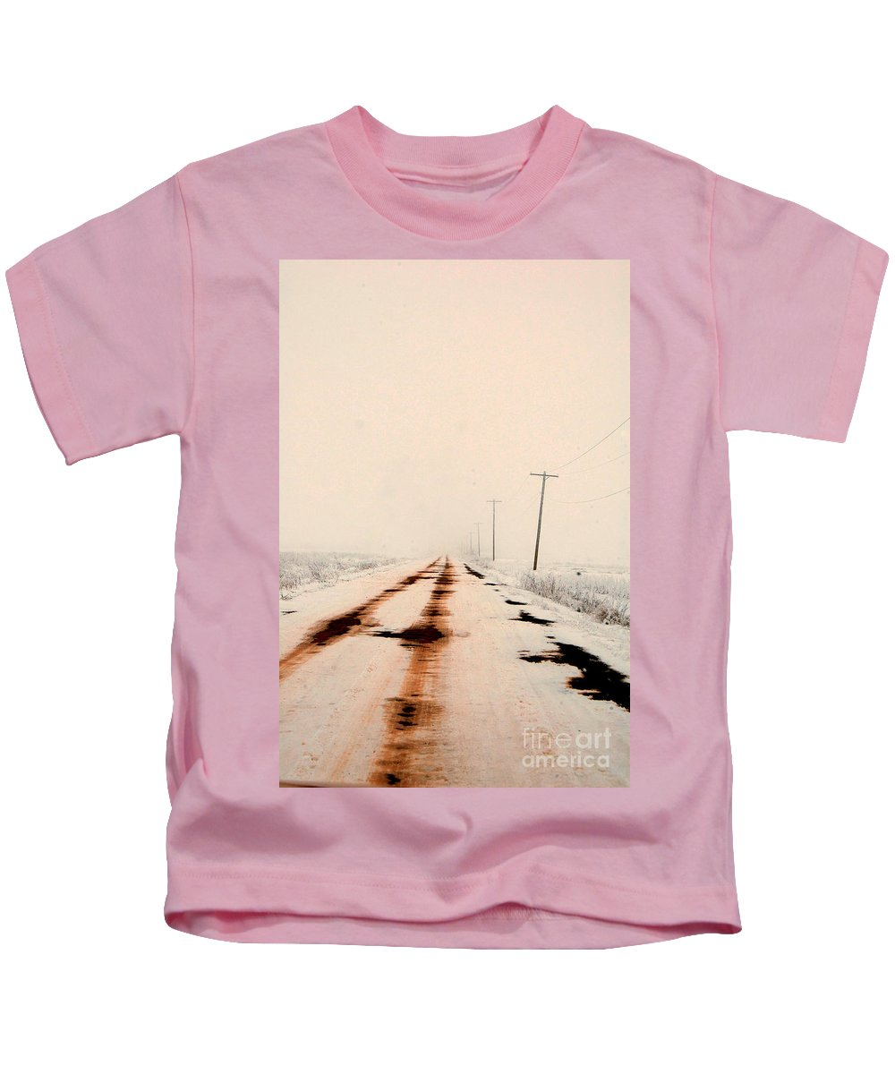 Snow Kids T-Shirt featuring the photograph Red Dirt Snow by Anjanette Douglas