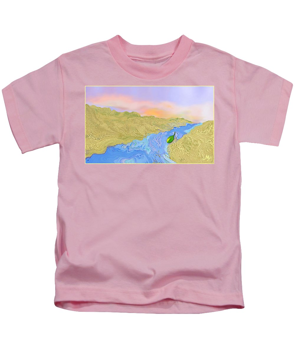 River Kids T-Shirt featuring the digital art River To The Sea by Mathilde Vhargon