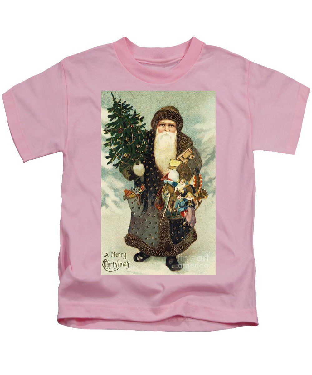 Christmas Card Kids T-Shirt featuring the painting Santa Claus With Toys by American School
