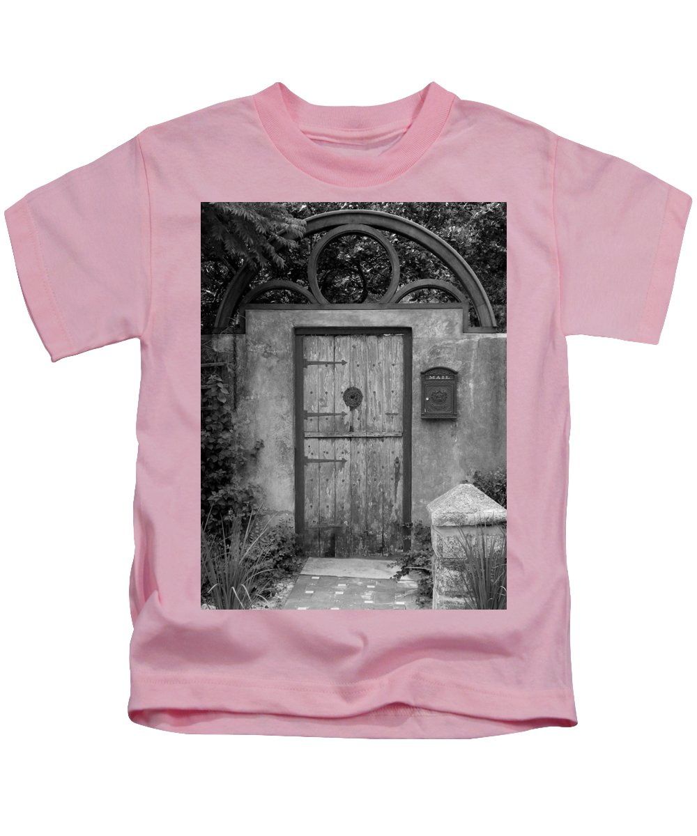 Door Kids T-Shirt featuring the photograph Spanish Renaissance Courtyard Door by Judy Wanamaker