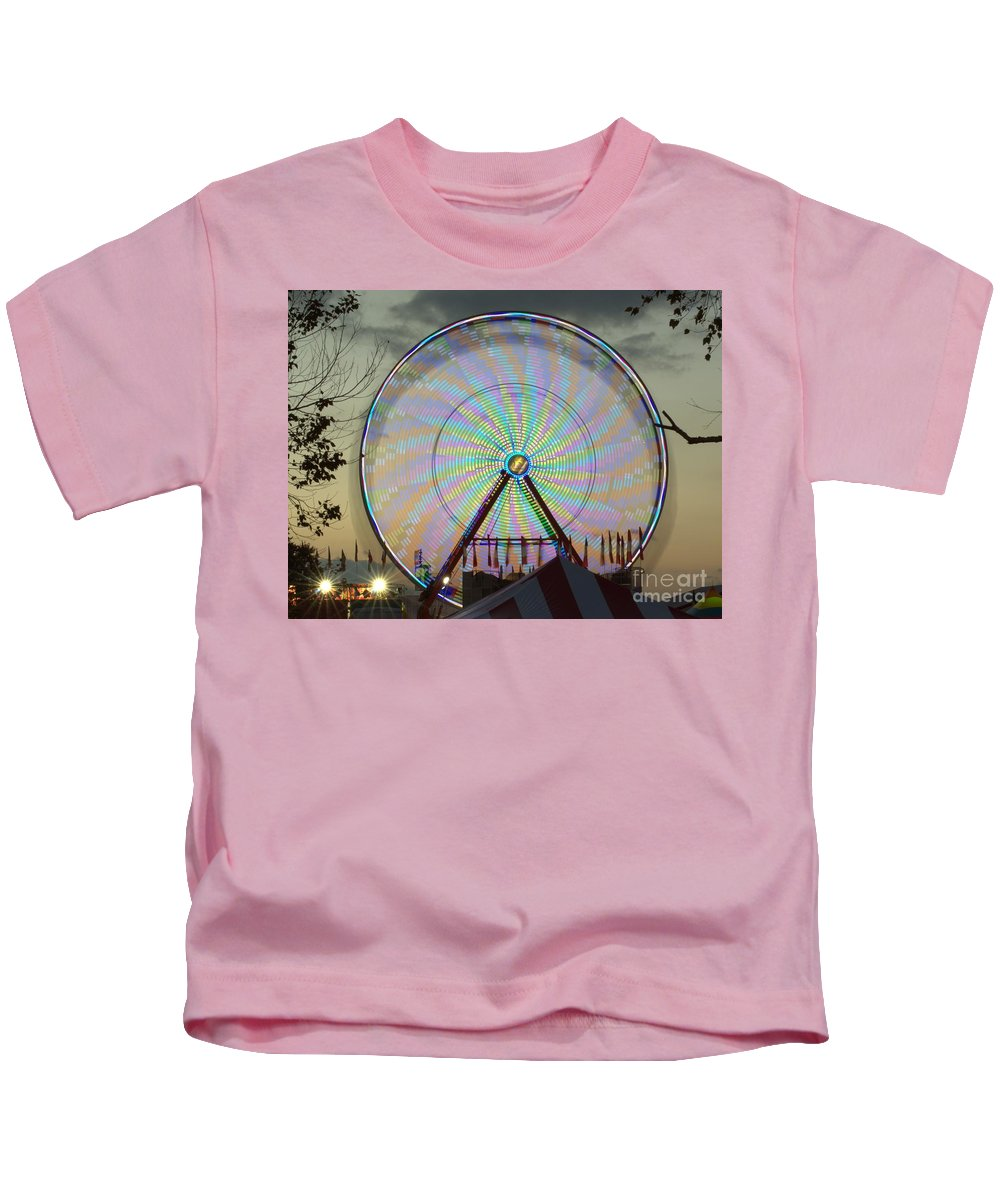 Ferris Wheel Kids T-Shirt featuring the photograph Sunset Flower by Donna Brown
