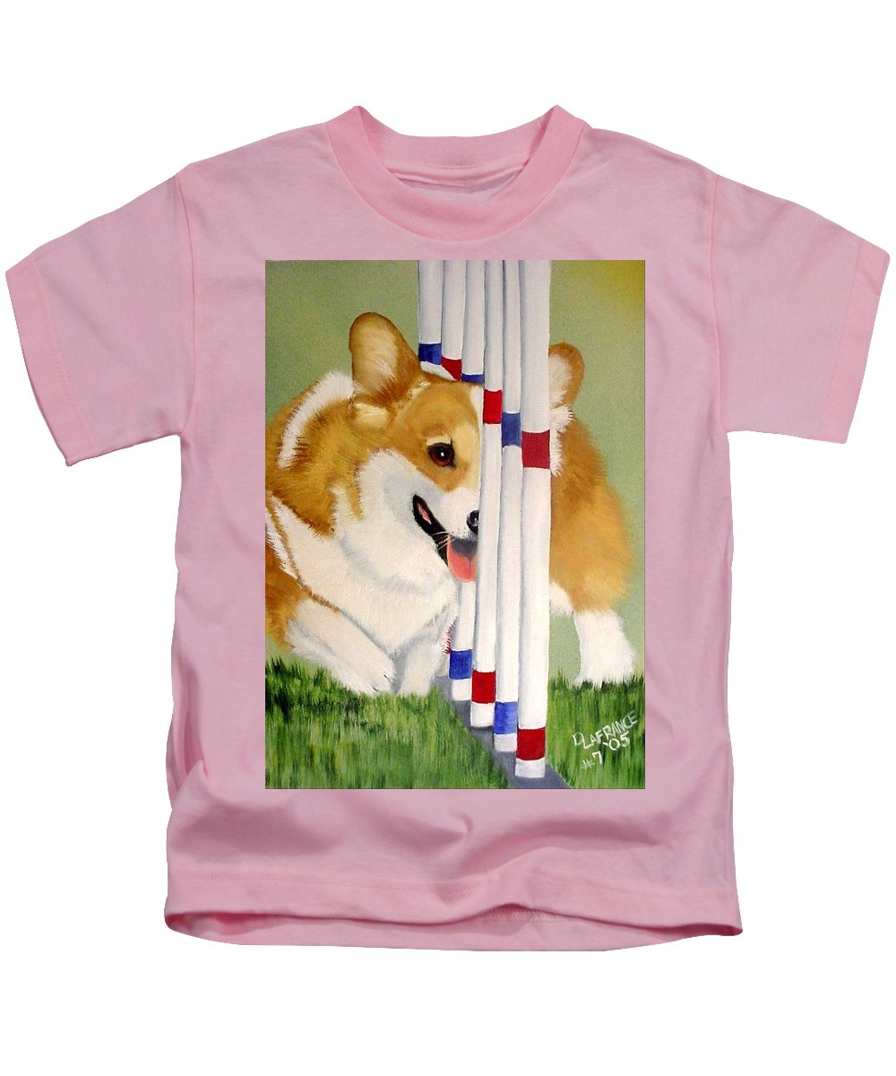 Corgi Kids T-Shirt featuring the painting Teddy Weaves by Debbie LaFrance