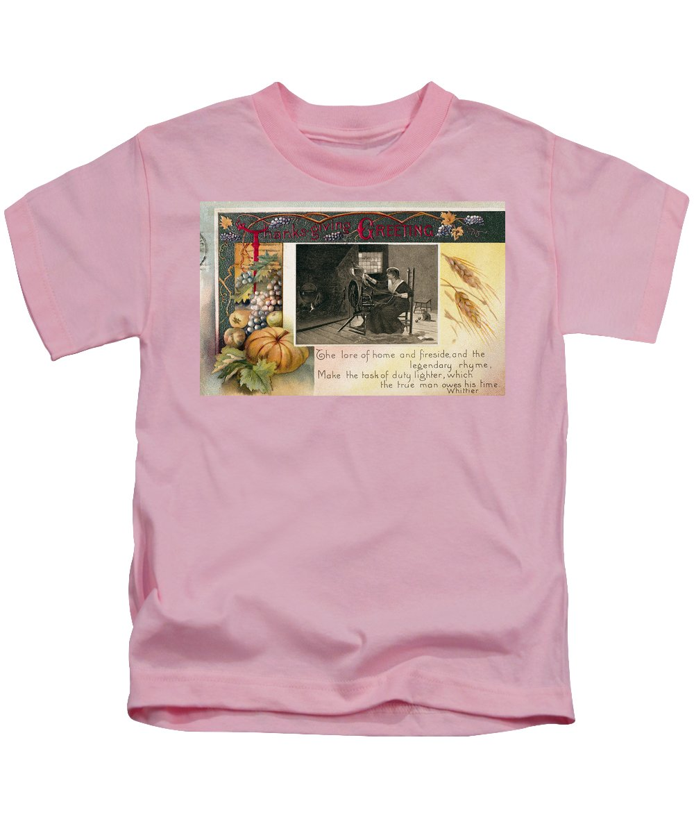 1909 Kids T-Shirt featuring the photograph Thanksgiving Card, 1909 by Granger